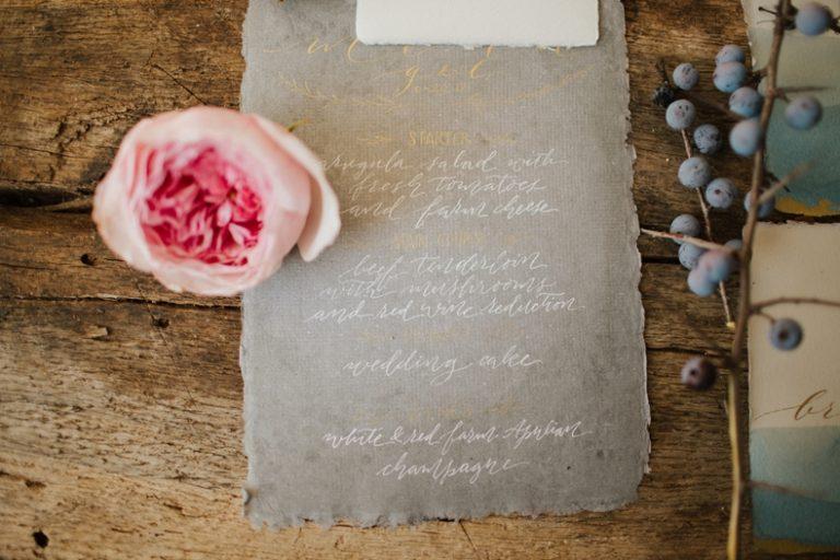 watercolor calligraphy menu