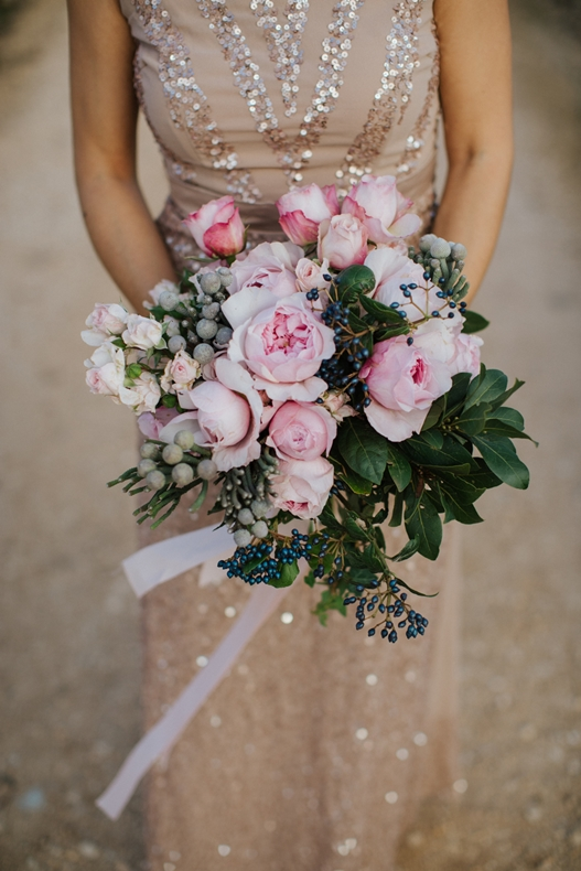 pink english roses bouquet