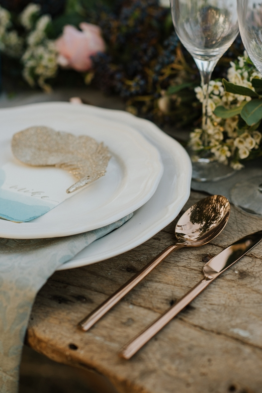 table setting , winter wedding inspirational shoot